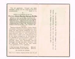 Aloïs De Bie,Heist-op-den Berg,26.7.1923.Werkweigeraar Door De Duitse Feldgendarmerie Weggevoerd,Essen,17.3.1945. - Todesanzeige
