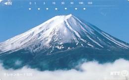 JAPAN Telefonkarte- NTT -111-023 -Mt Fuji - Große Nummer- Siehe Scan - Vulkanen