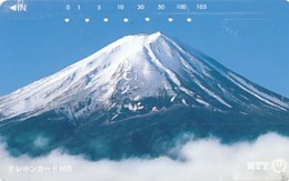 JAPAN Telefonkarte- NTT -111-023 -Mt Fuji - Große Nummer- Siehe Scan - Volcanes