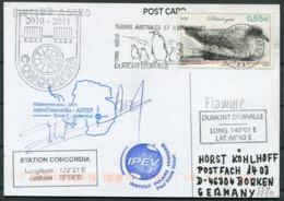 2011 T.A.A.F. French Antarctica Dumont D'Urville Polar Postcard. Whale Penguin CONCORDIA Signed - Covers & Documents