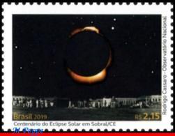 Ref. BR-V2019-07 BRAZIL 2019 SCIENCE, SOLAR ECLIPSE IN SOBRAL,, ALBERT EINSTEIN, RELATIVITY THEORY, MNH 1V - Unused Stamps