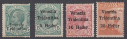 TRENTINO - ITALIA - 1919 - Lotto Di 4 Valori Nuovi Senza Gomma: Yvert 21 E 28/30, Come Da Immagine. - Trentino