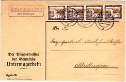DR 1937, Landpost Stpl. UNTERMAGERBEIN über Nördlingen Auf Brief M. MeF 4x3 Pf.  - Germany