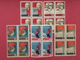 USSR Russia 1964 Block 100th Anniversary Of First International Karl Marx Lenin Engels Flag People Stamps MNH Mi 2948-52 - 1923-1991 USSR
