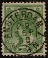 "NTH SC #74 U 1898 Queen Wilhelmina W/SON ""AMSTERDAM 7/29 SEP 00/8-9N"" CV $0.75 - Used Stamps"
