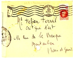 CENSURE OC2 DE DRAGUIGNAN VAR SUR LETTE LYON 1942 => MONTAUBAN TARN ET GARONNE - Storia Postale