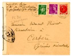 CENSURE PC241 DE PERPIGNAN SUR ENV PERPIGNAN 1941   JOLIE COMPO - Storia Postale