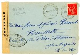 CENSURE NF208 DE VALENCE DROME SUR ENV 1941 ST JEAN EN ROYANS - Storia Postale