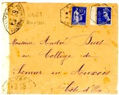 CENSURE EB69 DE AUXERRE YONNE SUR ENV MONTILLOT 1940 - Storia Postale