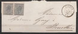 L. Affr. N*17 (paire) Lpts 379 (1 Seul Obl./2 Tps - RR !) Càd VIRTON /6 OCT 1866 Pour BOUILLON (au Dos: Càd NEUFCHATEAU - 1865-1866 Profile Left