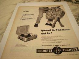 ANCIENNE PUBLICITE PLUS DANSANT AVEC DUCRETET THOMSON  1960 - Muziek & Instrumenten