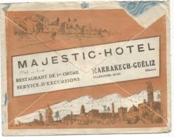 MAROC 40CX4 MARRAKECH  23.5.1933  LETTRE AVION + PUB AU DOS MAJESTIC HOTEL RESTAURANT - Maroc (1891-1956)