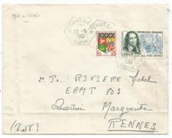 SURTAXE 20C PUGET +5C BLASON LETTRE C. HEX PERLE ST CALAIS CPN°16 SARTHE 22.6.1961 - Storia Postale