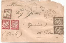 LETTRE FM DEFAUT CAMP LE BARCARES 17.3.1939 PYR ORIENTALES POUR LA PALME AUDE TAXE 1FR+30CX2+10CX2 - Marcophilie (Lettres)