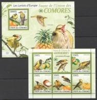 UC005 2009 UNION DES COMORES FAUNA BIRDS LES LORIOTS D'EUROPE 1KB+1BL MNH - Pájaros