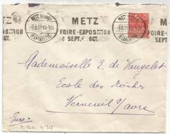 N°272 LETTRE MECANIQUE METZ FOIRE EXPOSITION SEPT OCT METZ MOSELLE 9.8.31 - Storia Postale