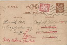 ENTIER 90C IRIS CP PARIS 1941 POUR LE MAROC REEXPEDIEE A LYON TAXE 30C POSTE RESTANTE - Entiers Postaux