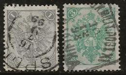 Bosnie-Herzégovine 1894-1898 N°Y.T. : 1A Et 3A (dent. 12 1/2 ) Obl. - Bosnie-Herzegovine