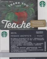 Starbucks 2019 China Happy Teacher Day Thank You Teacher Apple  Used Gift Card - Cina