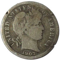 Ref. 1608-1836 - COI UNITED STATES . 1907. 1907 SILVER BARBER ONE DIME USA. 1907 SILVER BARBER ONE DIME USA - Vereinigte Staaten