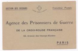 RARE CARTE AGENCE DES PRISONNIERS DE GUERRE 1914 AYANT VOYAGEE - Guerre 1914-18