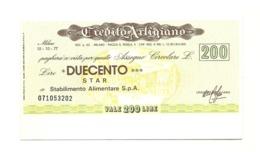1977 - Italia - Credito Artigiano - STAR Stabilimento Alimentare S.p.A. - [10] Assegni E Miniassegni