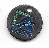 Jeton De Caddie  Argenté  Département  Conseil  Général  L' AISNE  ( 02 ) - Jetons De Caddies