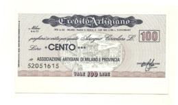 1977 - Italia - Credito Artigiano - Associazione Artigiani Di Milano E Provincia - [10] Assegni E Miniassegni