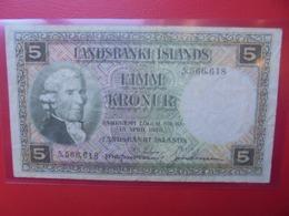 ISLANDE 5 KRONUR 1928(VERT) CIRCULER (B.9) - IJsland