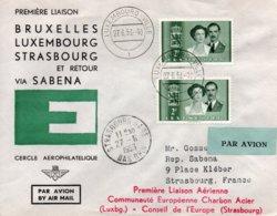 O1  Première Liaison Aérienne Bruxelles - Luxembourg - Strasbourg  1953    TB - European Ideas