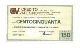 1976 - Italia - Credito Varesino - Unione Commercianti Provincia Di Varese - [10] Assegni E Miniassegni