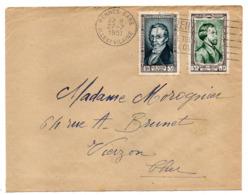 1951--Lettre De RENNES-35  Pour VIERZON -18---tps Personnages Célèbres  GAY-LUSSAC + Alf DE MUSSET - Marcofilia (sobres)