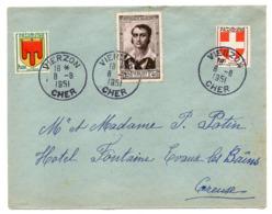 1951--Lettre De VIERZON -18 Pour EVAUX LES BAINS-23---tp Personnage Célèbre  SURCOUF + Balsons - Marcofilia (sobres)