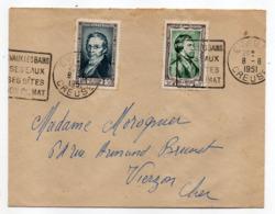 1951--Lettre De EVAUX LES BAINS-23 Pour VIERZON-18 -tps Personnages Célèbres GAY-LUSSAC, Alf DE MUSSET + Blasons--Daguin - Marcofilia (sobres)