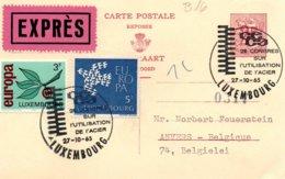 O26  CECA - EGSK  Congrès Sur L'utilisation De L'acier 1964 Luxembourg Expres Sur Carte Réponse  RR   TTB - European Ideas
