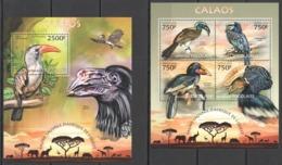 TG602 2013 TOGO TOGOLAISE WILD FAUNA OF AFRICA BIRDS HORNBILLS CALAOS KB+BL MNH - Oiseaux
