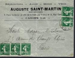LETTRE DE CAHORS (LOT) POUR PARIS - 1906-38 Semeuse Camée
