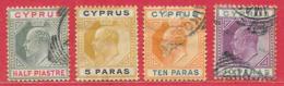 Chypre N°34, 44, 45, 47 (filigrane CA Multiple) 1903-08 O & * - Cyprus (...-1960)