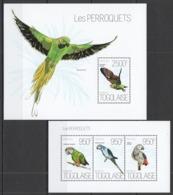 TG634 2013 TOGO TOGOLAISE FAUNA BIRDS PARROTS LES PERROQUETS KB+BL MNH - Papagayos