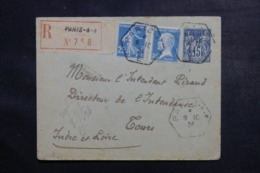 FRANCE - Entier Postal Type Sage + Compléments En Recommandé De Paris Pour Tours En 1924 - L 48009 - Entiers Postaux