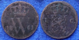 NETHERLANDS - 1 Cent 1861 KM# 100 Willem III (1849-1890) Copper - Edelweiss Coins - Sin Clasificación