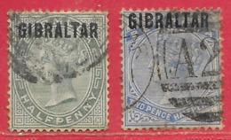 Gibraltar N°1 0,5p & N°4 2,5p 1886 O - Gibraltar