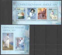 TG666 2013 TOGO TOGOLAISE ART PAINTINGS AMERICAN IMPRESSIONISM HASSAM BENSON CHASE KB+BL MNH - Impressionisme