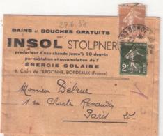 1c.semeuse Camée BISTRE + 2c.vert Sur Bande Journal INSOL STOLPNER Oblitéré BORDEAUX - Postmark Collection (Covers)