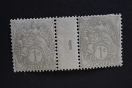France - Type Blanc N° 107 IB Millésime 1 De 1911 Nuance Gris Pâle Sur Papier C Neuf * - Millesimi