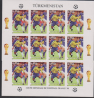 Soccer World Cup 1998 - Football - Turkmenistan - Sheet Imperf. MNH - Coppa Del Mondo