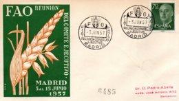 O46 Réunion Du Comité Exécutif De La FAO à Madrid Du 3 Au 15 Juin 1957 - FDC  TTB - ACF - Aktion Gegen Den Hunger