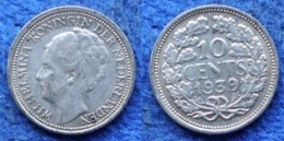 NETHERLANDS - Silver 10 Cents 1939 KM#163 WiIhemina (1890-1948) - Edelweiss Coins - [ 3] 1815-… : Regno Dei Paesi Bassi