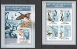 TG719 2013 TOGO TOGOLAISE FAUNA REPTILES PREHISTORIC LIFE FLYING DINOSAURS KB+BL MNH - Postzegels