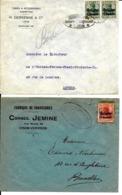 2 X Lettre Deutsches Reich   DISON  Chaussures Jemine +  LIÈGE  H. Derkenne - WW I